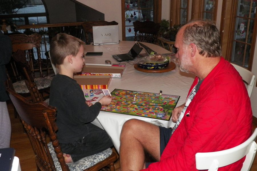 Zander playing Candyland with Baba... somehow the instructions did NOT make it from Canada!