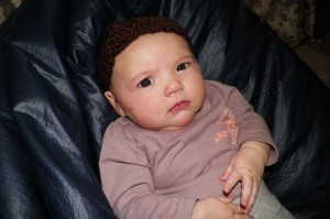 Lily Bean in knotted headband made by me