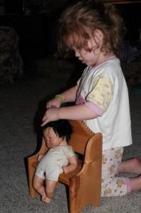 Combing baby's hair