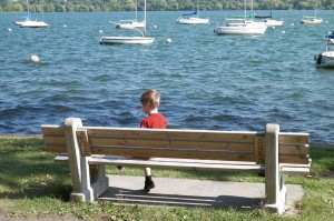 Emanuel watching the boats