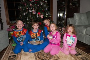 Cookies and milk for Santa... in their Christmas pj's!