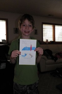 Emanuel's cover for his dinosaur book we read together
