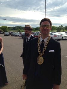Going into the reception they all dressed silly. This is Chris (Renee's husband)