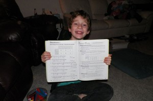 Emanuel ALSO finished his grade 1 math book curriculum!