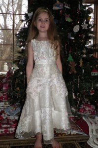 So grown up. Thank to Grandma Anna for the dress! Last of the ones we brought with us when we moved!