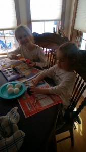 The girls did classic egg dying... messy but fun!