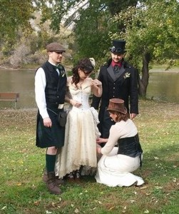 Bride, Groom, Brother of the Groom (Bill... he had the best long tails EVER) and the seamstress... the AMAZING Amy Sue