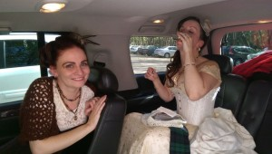 Sitting in the fancy ride (the GMC thanks to the loan of the inlaws) having a pre wedding sip.