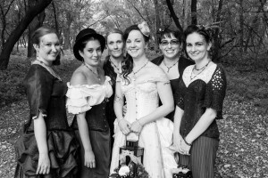 Just the girls in the wedding party... Emily (bridesmaid), Trish (bridal attendant), Raina (bearer of rings), Shandai (bride), Dara (best woman), Me (maid of honour... yup MAID hehe)