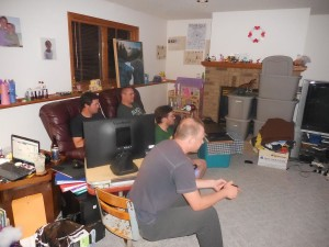 Boys in the basement gaming... like college all over again!