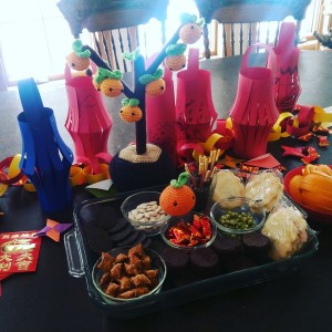 Our Special Snack Platter with the newest addition to our decorations..  lucky orange tree!