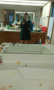 Fancy outfit... ignore the bathroom