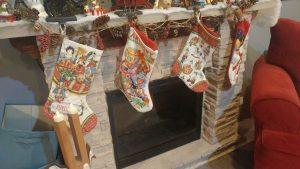 I made these first 3 stockings. The 4th (Aidan's is permanently on display in his room!)