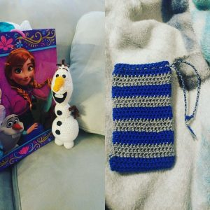 Olaf for Andrew Novak and a cell phone pocket for his brother Anthony.
