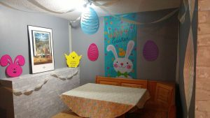 The Easter corner for the kids to eat in.