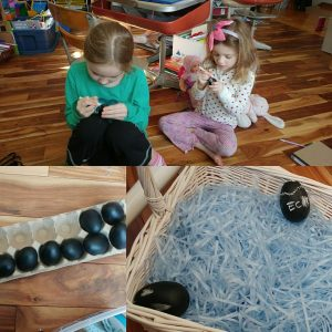 Decorating chalk eggs