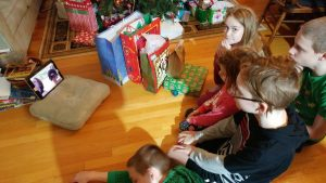 Opening presents with Aunty Holly and Cousin Jimmie