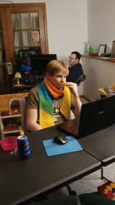Cousin Robbie visited and mentioned never having had a scarf... well that problem was quickly solved!