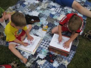 Gavin and Zander Hard at Work Colouring