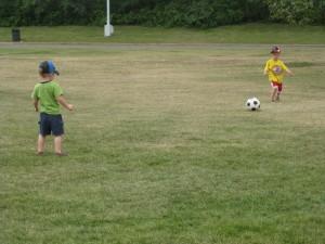 Gavin and Emanuel Working on Their Kicks