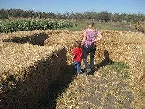 Grandma and Emanuel in the Hay Maze