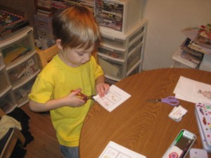 Zander Hard at Work on Winter/Christmas Projects