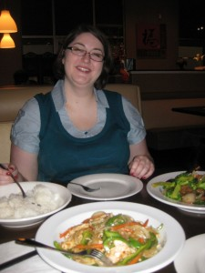 Karyn with our yummy meal!!